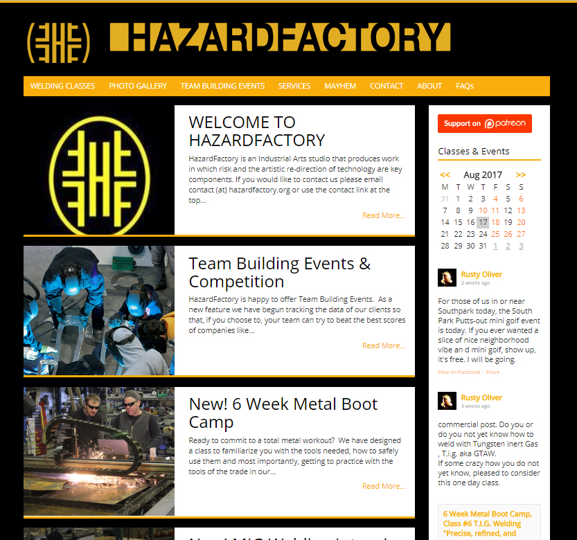 <b>Hazard Factory</b></br> Welding classes and services